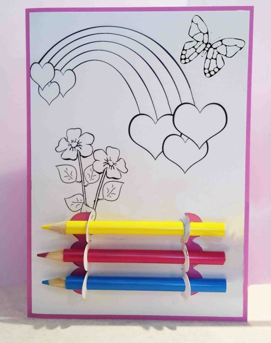 rainbow flowers butterfly kids coloring card image