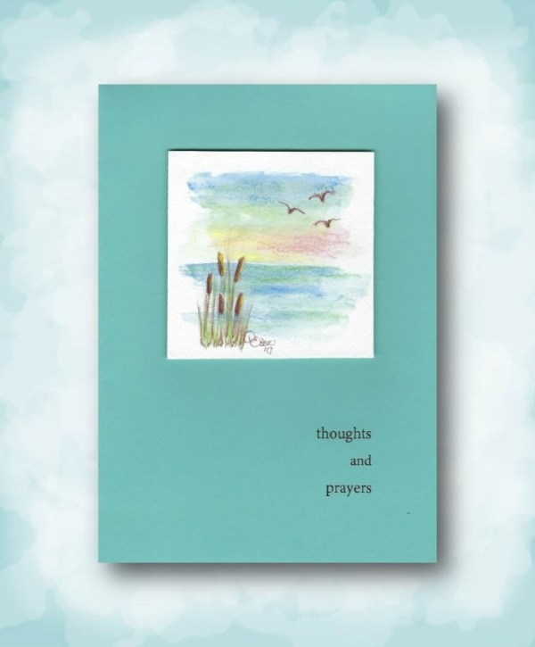 thoughts and prayers watercolor scene on ocean blue sympathy card
