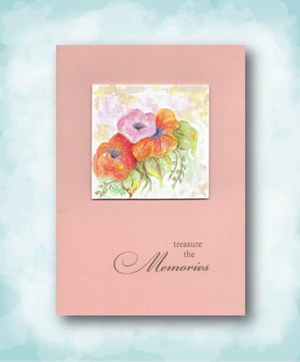 treasure the memories peach watercolor flowers sympathy card