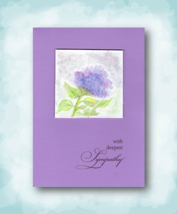 with deepest sympathy watercolor hand painted hydrangea card image