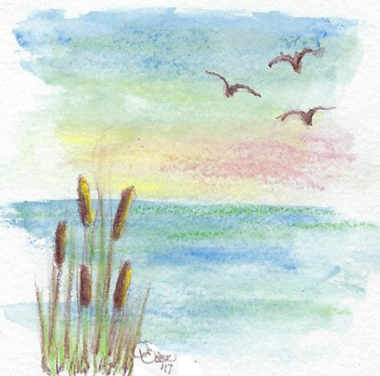 hazy horizons on water with bulrushes and birds