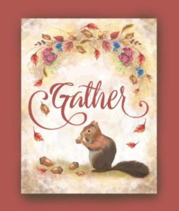 squirrel gathers harvest acorns fall leaves berries printable art