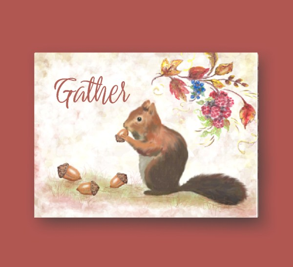 Gather squirrel acorns fall leaves card image