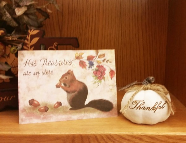 His Treasures are in store squirrel acorns fall card photo
