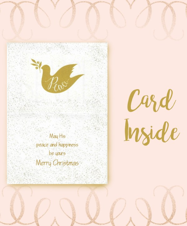Peace dove olive branch Christmas card inside image