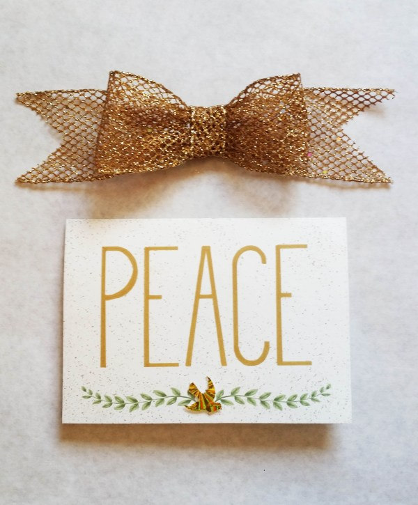 Peace dove olive branch Christmas card photo on white