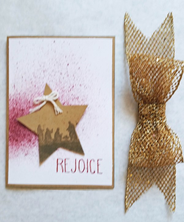 Rejoice Christmas Card Flat Lay on White