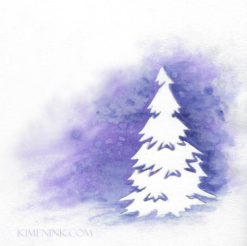 Aurora Lights purple shimmer watercolor with pine silhouette card front