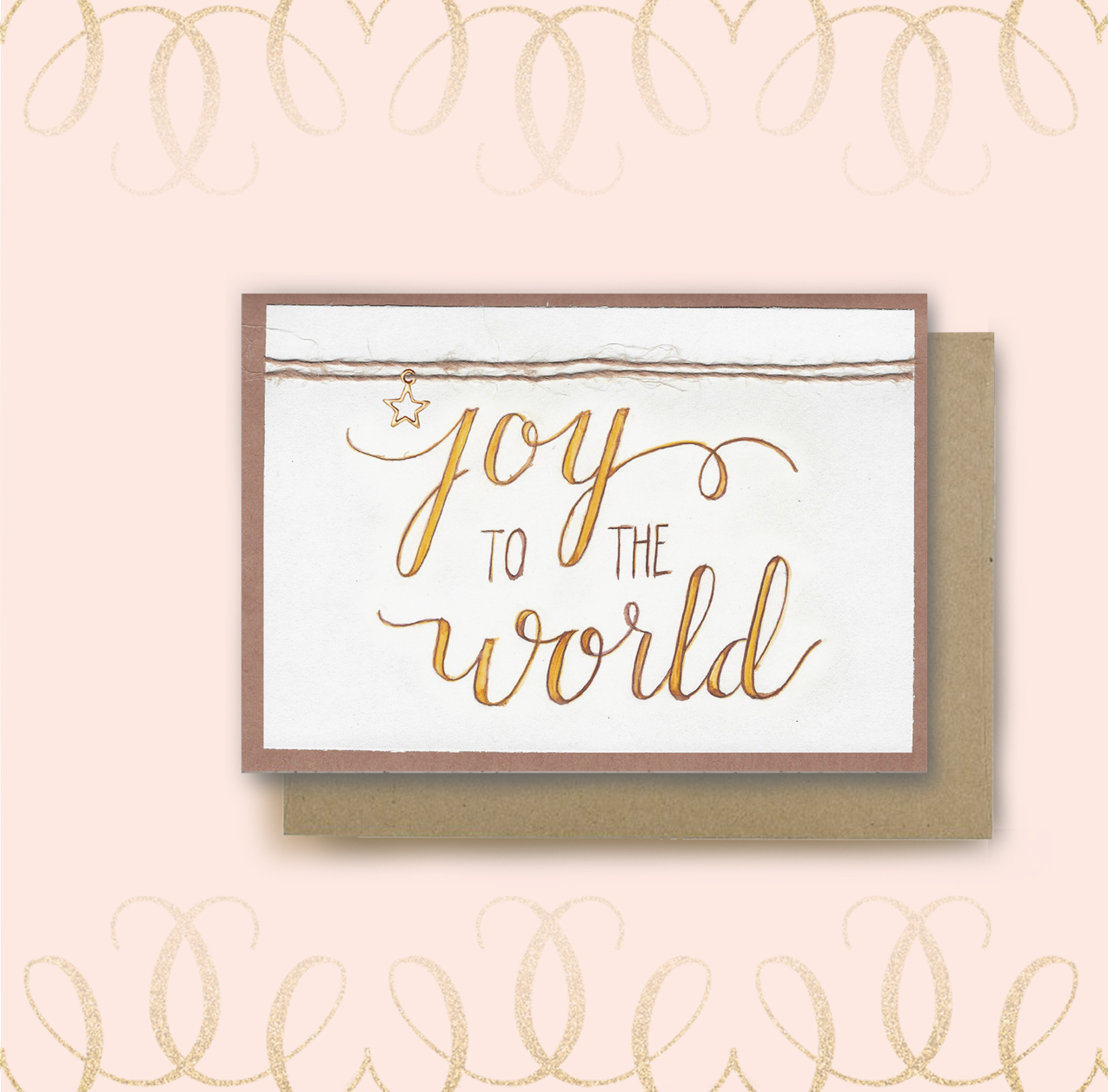 Joy to the world calligraphy christmas card kim ink