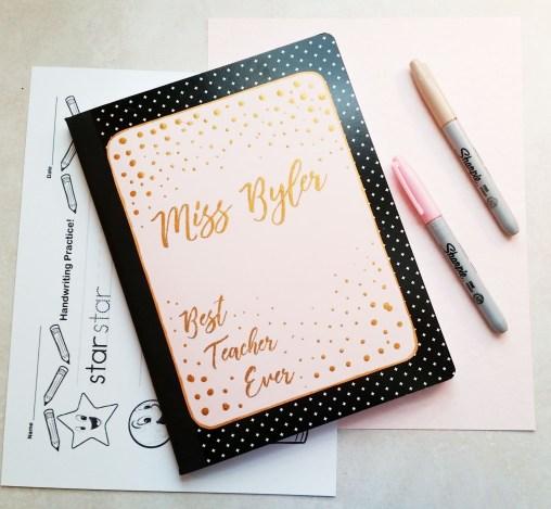 rose gold best teacher notebook diy