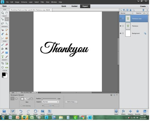 PhotoShop Thank you Step 1