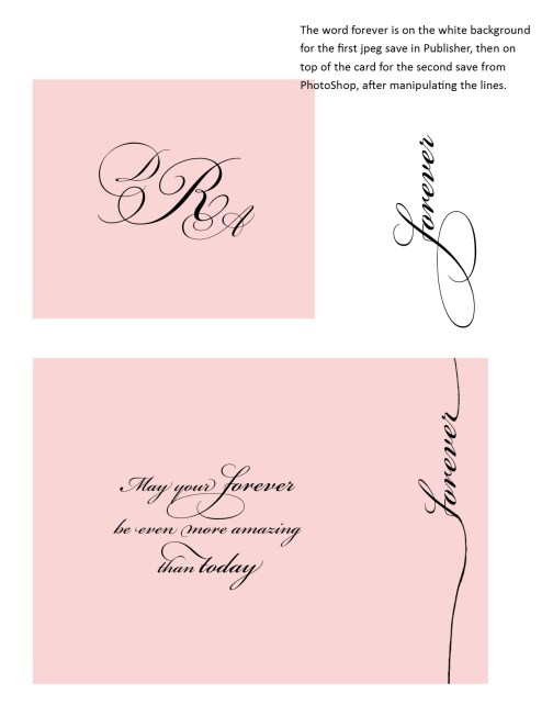 Forever wedding card pink backgrounds with words