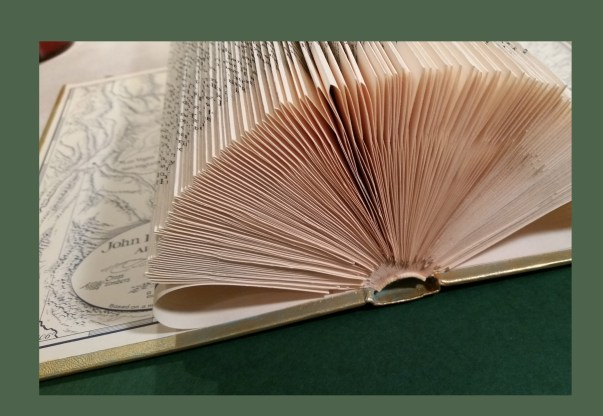 Rolled and folded pages of book card display