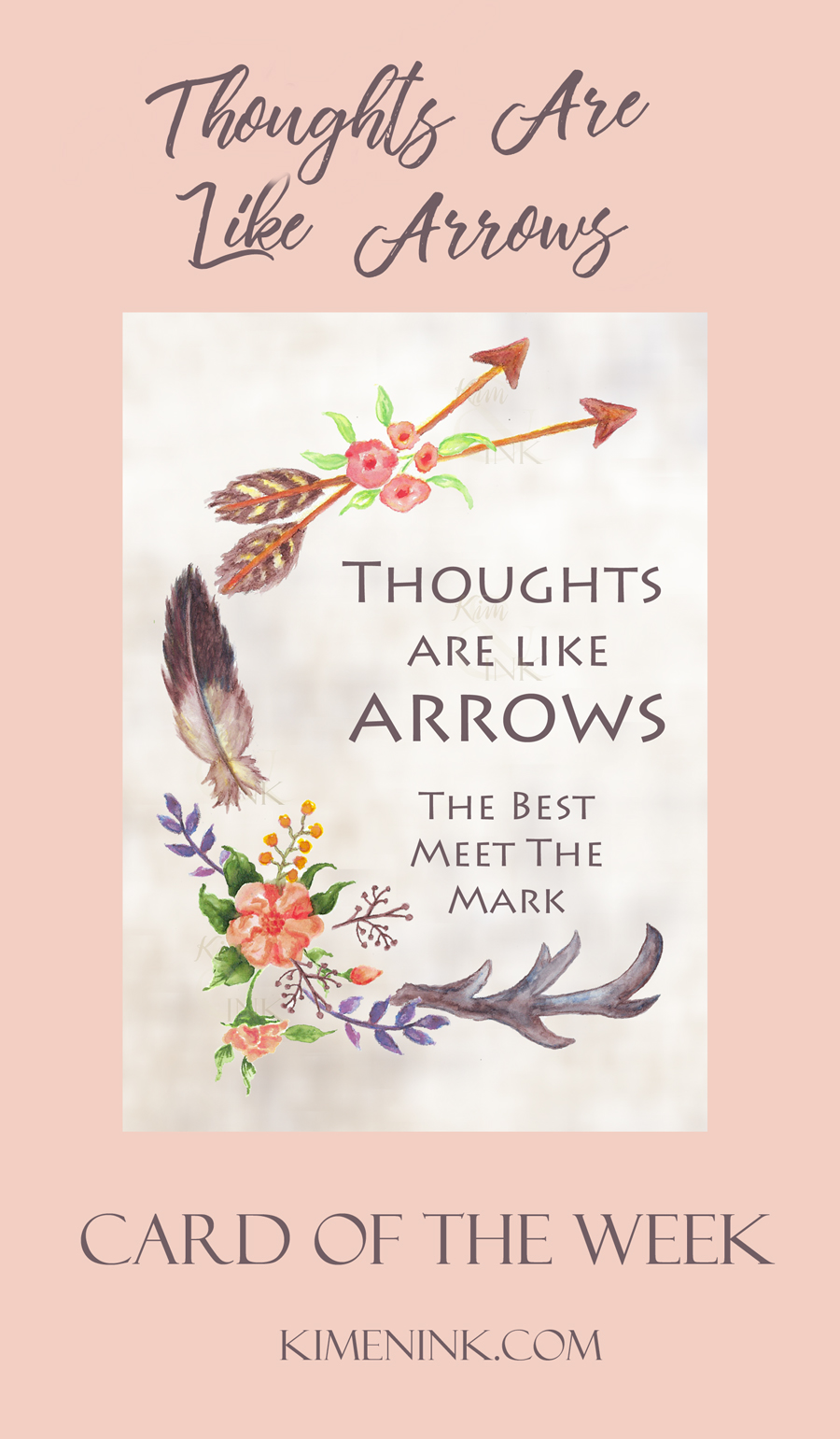 Thoughts are like Arrows Watercolor Greeting Card by kimenink.com
