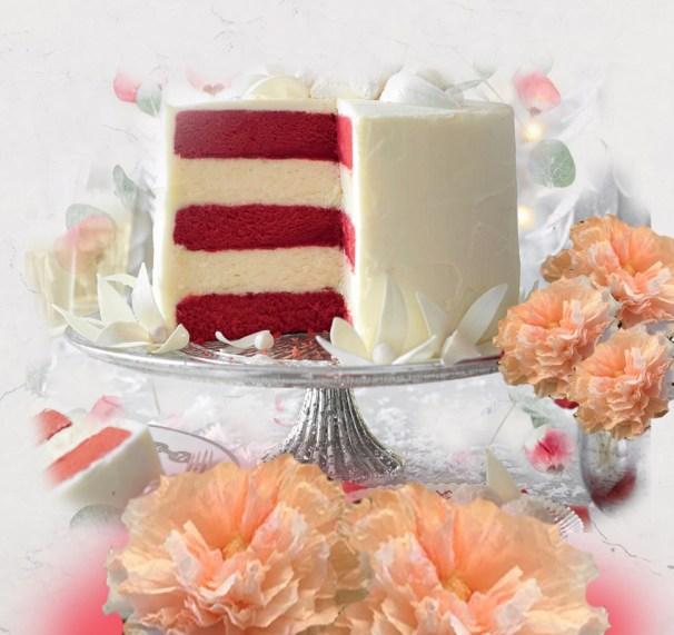 red velvet cheesecake photo collage