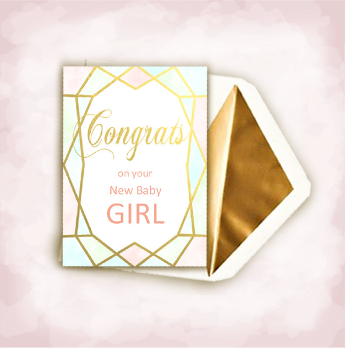 geo gold baby girl congrats card and envelope