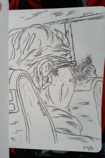 Drawing of the woman in front of me on the bus. 3B pencil.