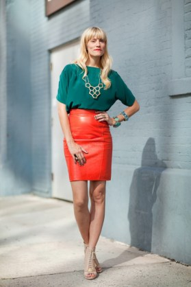 bright-orange-red-leather-pencil-skirt-nude-shoes-open-toe-booties-green-top-beehive-gold-bib-necklace-street-style-mr-newton