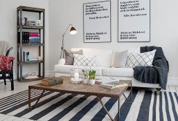 scandinavian-living-room-apartment-design-with-vintage-wooden-table-inspire-Q-kendrick-white-chenille-track-arm-loveseat-sofa-and-wall-rack-bookshelf-ideas