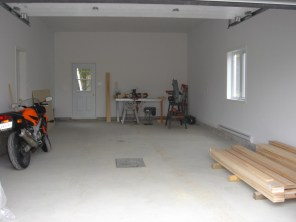 Empty garage of the new house.