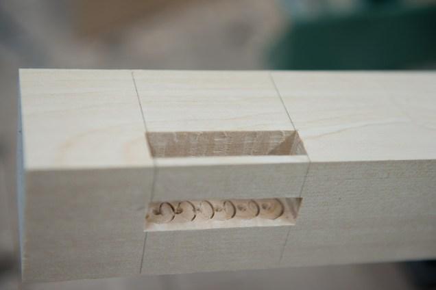 Desk leg mortising detail