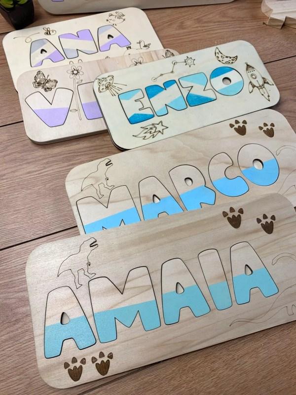 Nombres personalizados madera