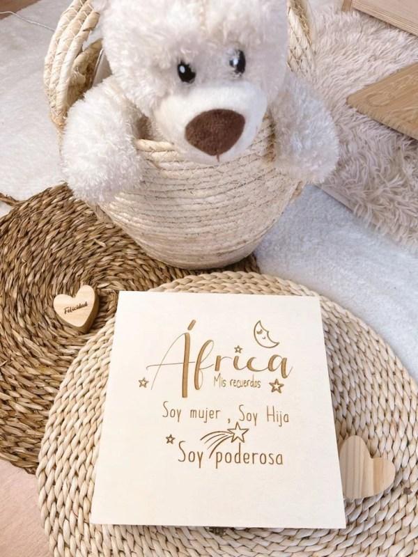 caja de madera recuerdos de bebe