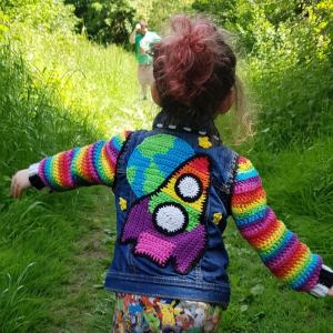 denim colourful rainbow jacket out of this world Rocket