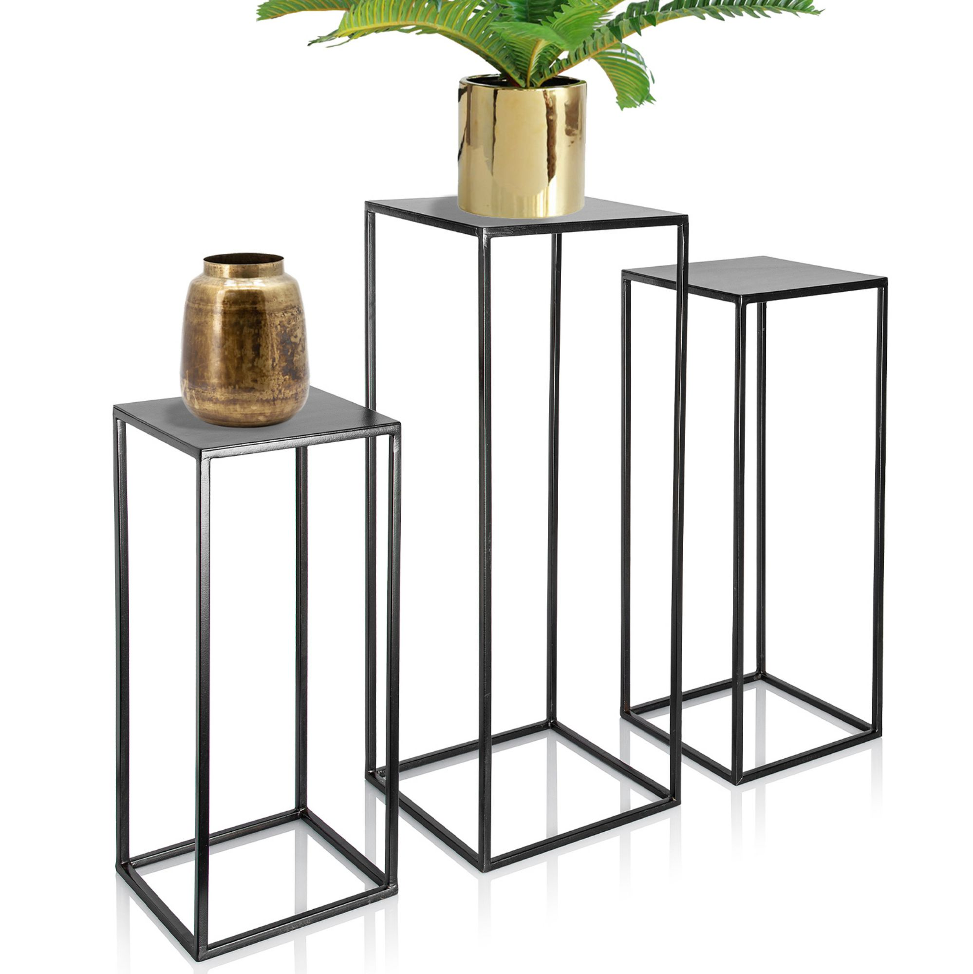 Trio Metal Plant Stand With High Square Rack Flower Holder Kimisty