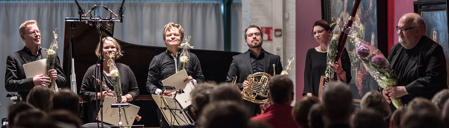 Wind Quintet Arktinen Hysteria and composer Kimmo Hakolan after first performance 2017