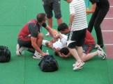 熱中症で倒れるセルビアの選手