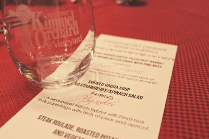 Our simple menu cards paired with a keepsake Kimmel Orchard wine tasting glass made for the perfect memento.