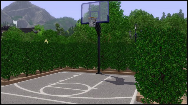 In front of the school there's a basketball hoop where the teens can shoot some hoops during break time.