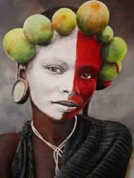 Omo Girl with Fig Crown - acrylic on canvas 70 x 90 R15 000