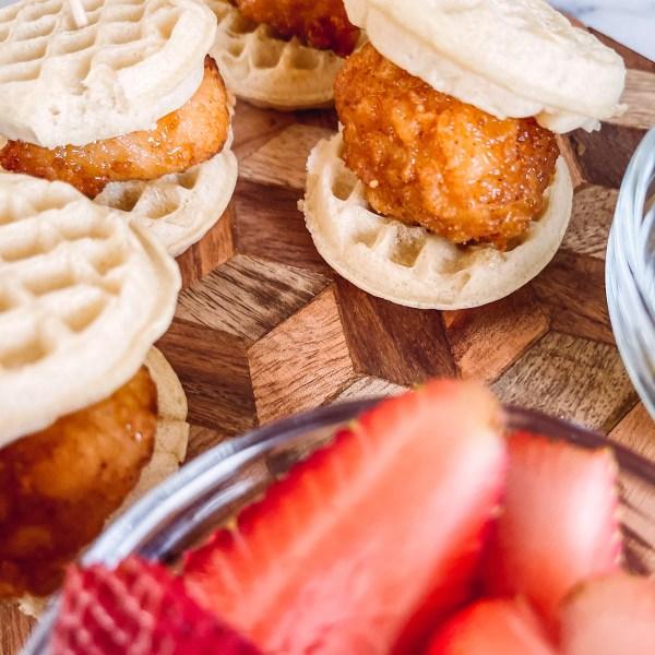 Mini Waffle Chicken Breakfast Sandwiches