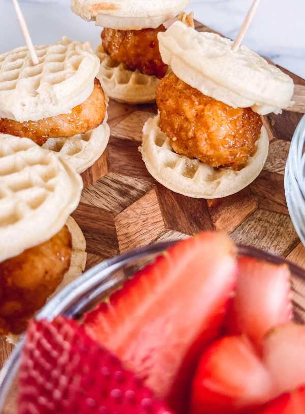 Mini Waffle Chicken Breakfast Sandwiches