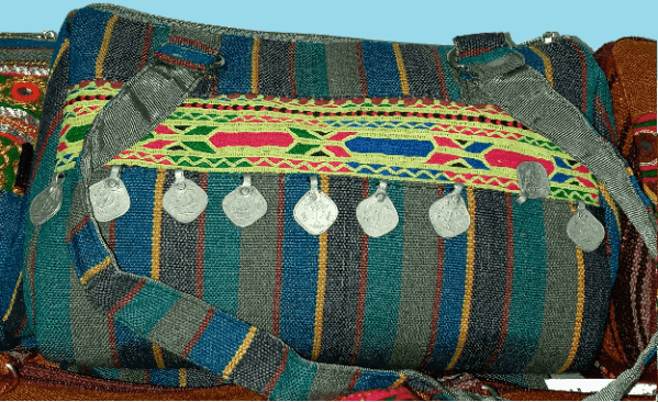 Hand Bag Emerald w Blue Hand Embroidery & Metal Coins