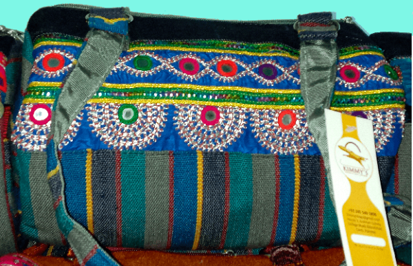 Hand Bag w Blue Embroidery & Mirror Work 2