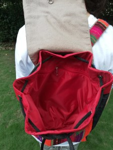 Inner View: Hand Woven Back Pack with Traditional Embroidery.