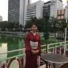 紗の着物とお堀のホタル @カナルカフェ