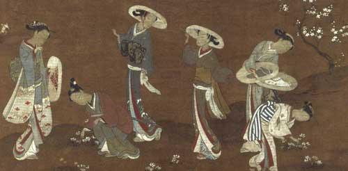 鈴木春信 「隅田川河畔春遊図」