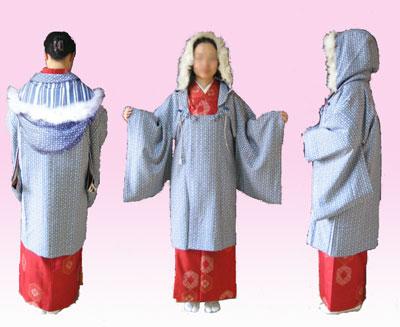フード付き被布衿コート