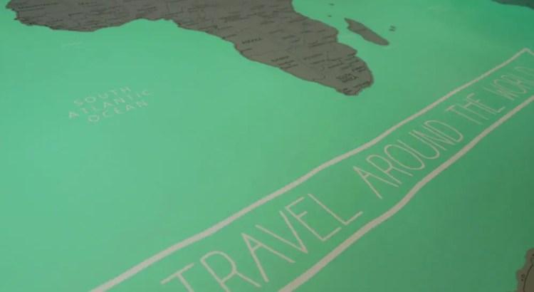 Wereldkaart met kraslaag van HEMA