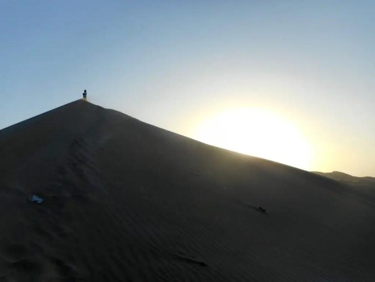 Uitkijken over de zandduinen van Huacachina