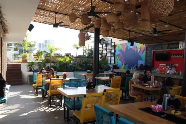Op het dakterras van het Mayan Monkey Cancún Hostel.
