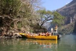 Volgeladen toeristenbootjes op zoek naar wildlife.