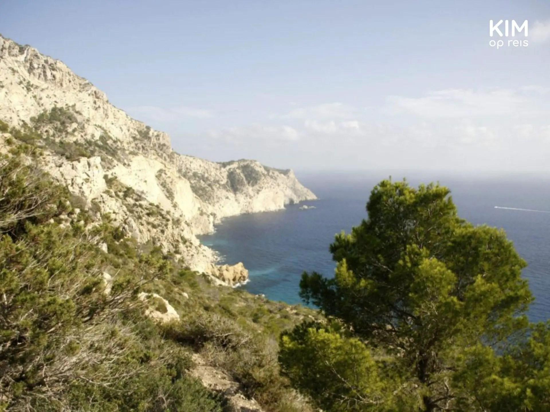 Start afdaling Atlantis - uitzicht over een begroeide baai van boven