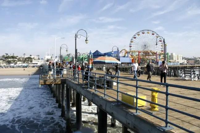De achtbaan op de Santa Monica pier.