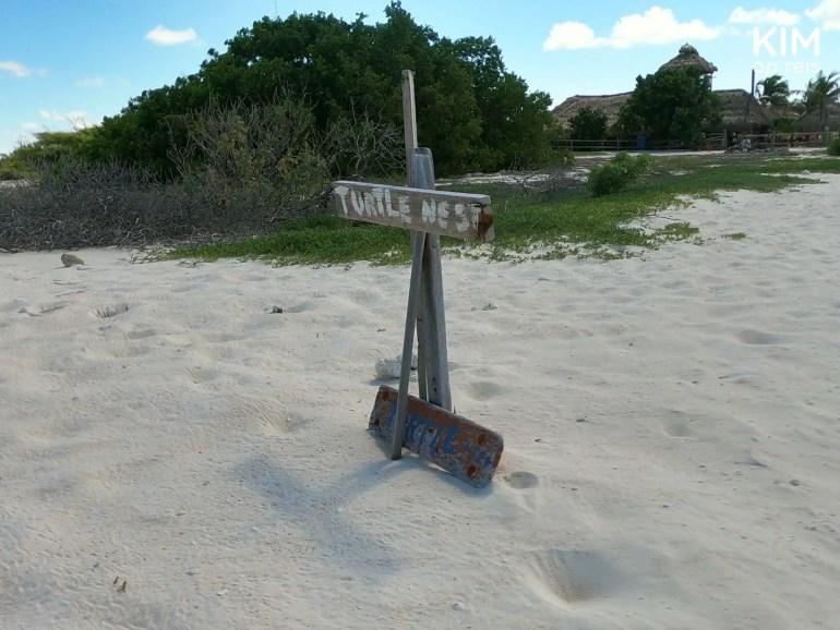 schildpaddennest Klein Curaçao: op een strandje staat een bordje met 'turtle nest' erop geschilderd