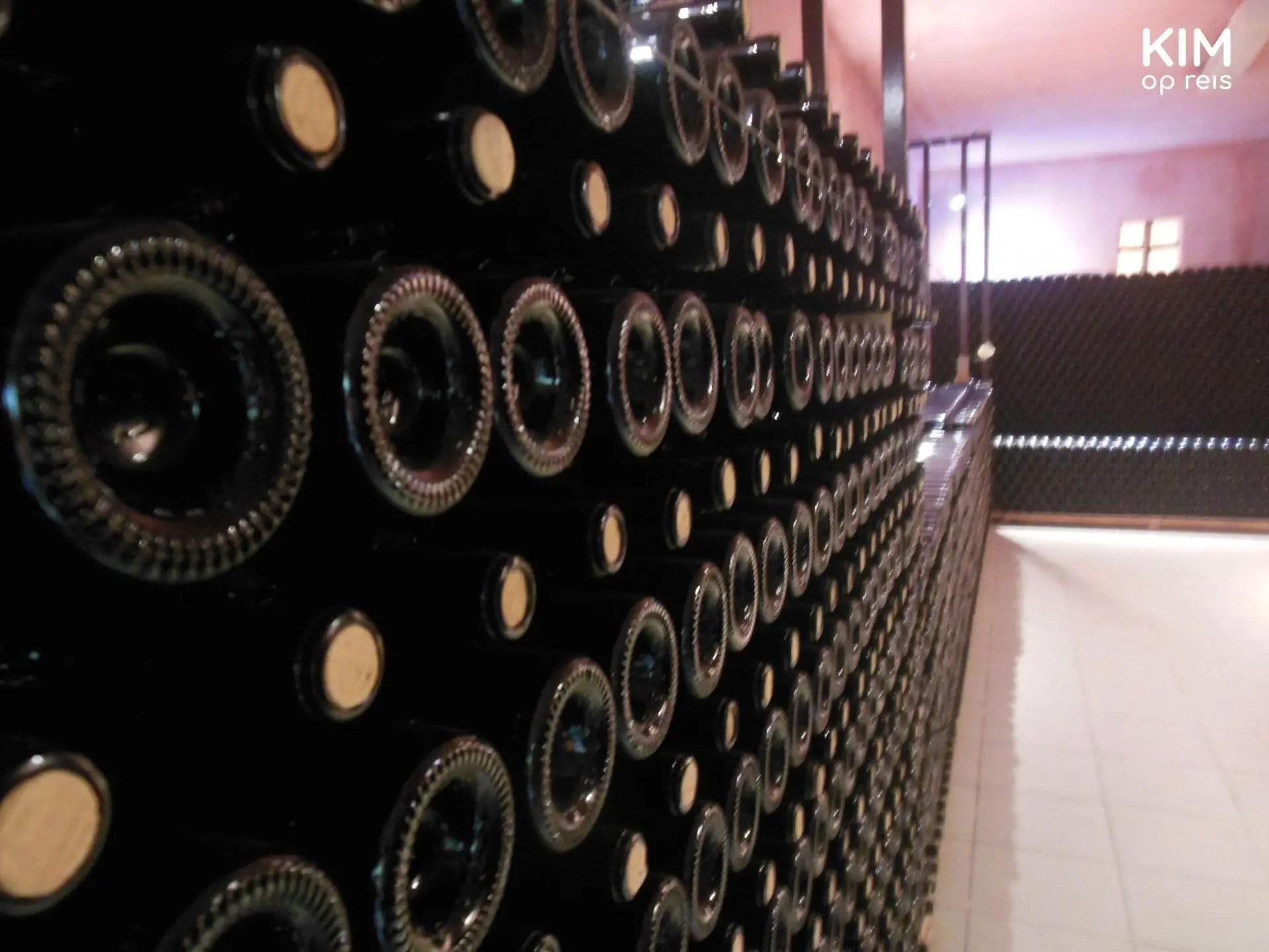 Opslag van het Sa Cova wijnhuis op Ibiza - stelling vol wijnflessen